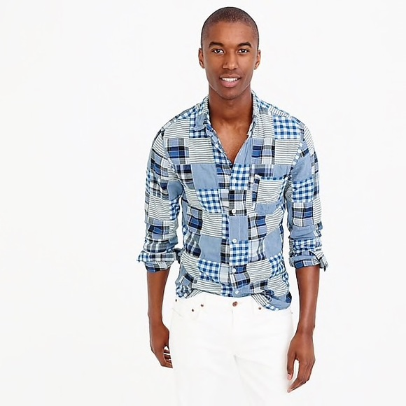 a1f200a6ab4f6 J. Crew Other - J. Crew Slim Indian Madras Shirt in Blue Patchwork
